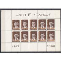 Джон Кеннеди. Доминиканская Республика. 1964. 1 малый лист (полная серия). Michel N 842 (- е)