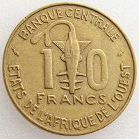Западная Африка, 10 франков 1975 года, KM#1a, золотая гиря/ газель, животные