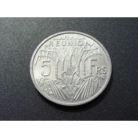 """Реюньон. 5 франков 1955 год """"Редкая!!!"""" KM#9"""