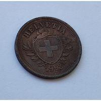 Швейцария 1 раппен, 1908 7-5-22