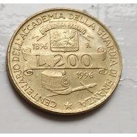 Италия 200 лир, 1996 100 лет Академии таможенной службы  2-10-18