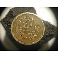 1943  Цейлон Британский 25 центов