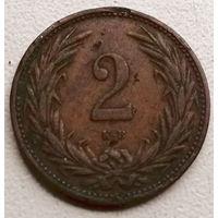 Венгрия 2 филлер 1896