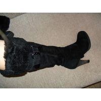 Черные сапоги натуральная замша размер 36