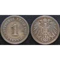 YS: Германия, Рейх, 1 пфенниг 1907F, KM# 10