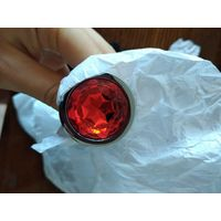 Анальная пробка. средняя 82*34 мм, металл, круглый красный камень, новая