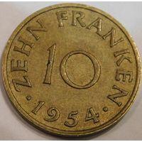 5. Саарланд 10 франков 1954 год.