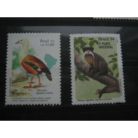 Марки - Бразилия, фауна, птицы - 1 марка что слева