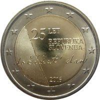 2 евро 2016 Словения 25-летие независимости Словении UNC из ролла