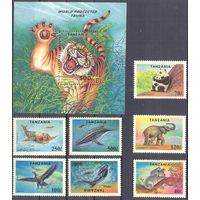 Танзания фауна тигр зебра слон дельфин
