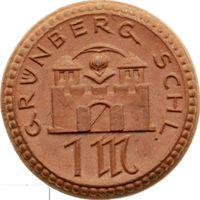 РАСПРОДАЖА!!! - ГЕРМАНИЯ ГРЮНБЕРГ 1 марка 1921 год - BU!