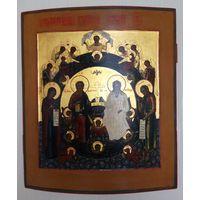 Большая старинная икона.Ковчег. Триипостасное божество или Святая Троица Новозаветная. RRRRR