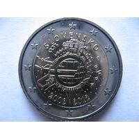 Словакия 2 евро 2012г. 10 лет евро наличными. (юбилейная) UNC!