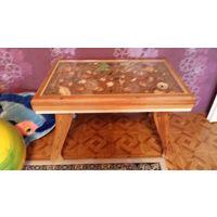 Стол деревянный ручной работы-морское дно