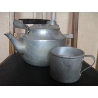 Советские алюминиевые чайник с кружкой и ложкой.1966 г.
