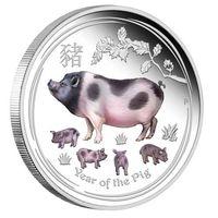 """Австралия 1 доллар 2019г. Австралийская лунная серия II: """"Год Свиньи"""". Пруф; цвет. Монета в капсуле; подарочном футляре; номерной сертификат; коробка. СЕРЕБРО 31,107гр.(1 oz)."""