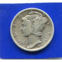 США 10 центов 1939 S , серебро , Mercury Dime