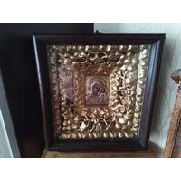 Икона Казанская Б.М.1775(6)г.18век.Серебро.золочение .клейма мастера..Киот сусалка 18век.