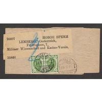 Российская империя Упаковка прошедшая почту из Санкт-Петербурга в Лемберг (Львов) под Австрией 1892 год