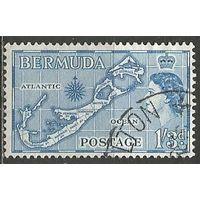 Бермуды. Королева Елизавета II. Карта островов. 1953г. Mi#142.