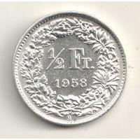 Швейцария 1/2 франк 1958